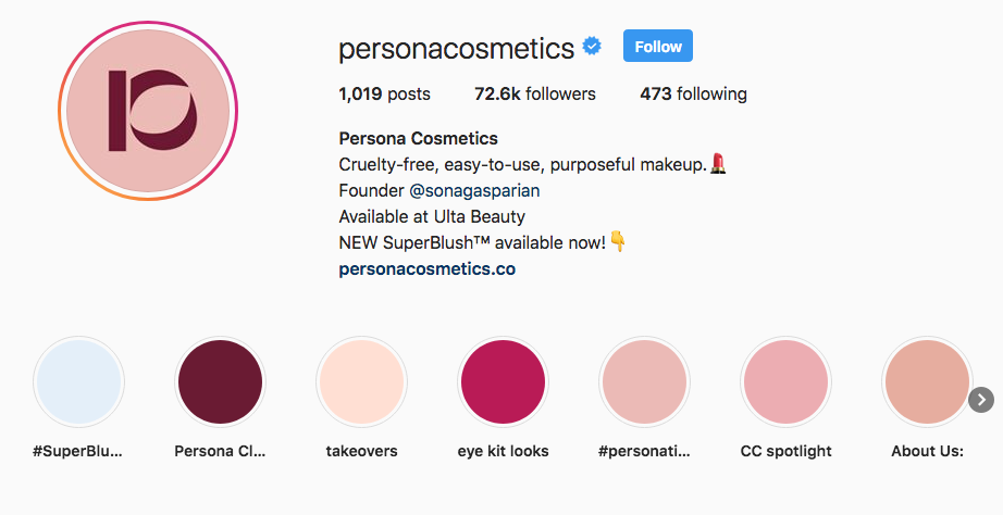 Persona Cosmetics Instagram Highlights