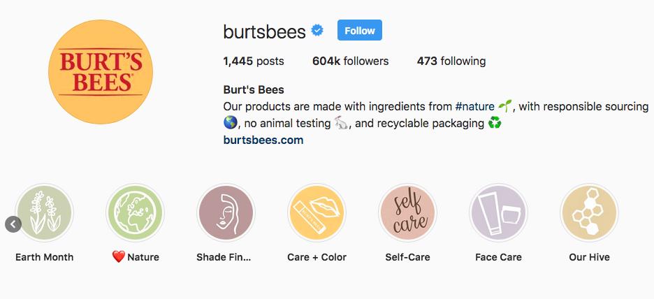 Burt's Bees Instagram Highlights