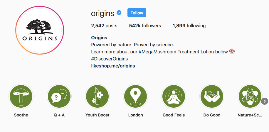 Origins Instagram Highlights