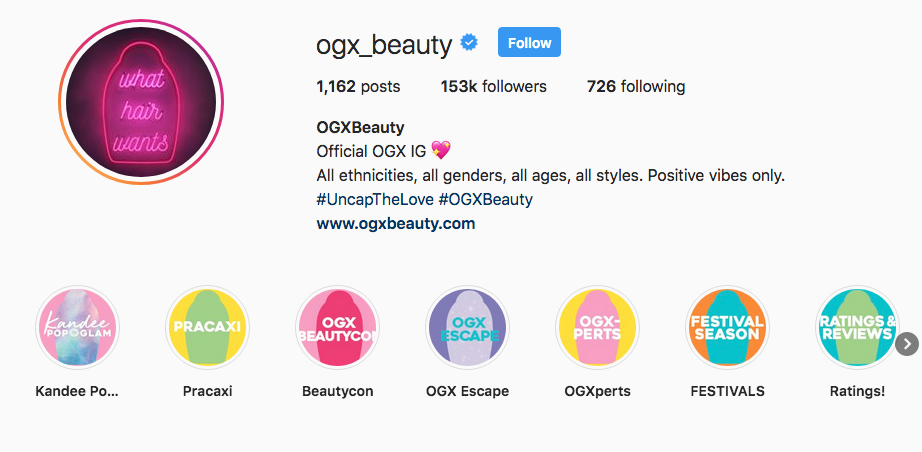 OGXBeauty Instagram Highlights